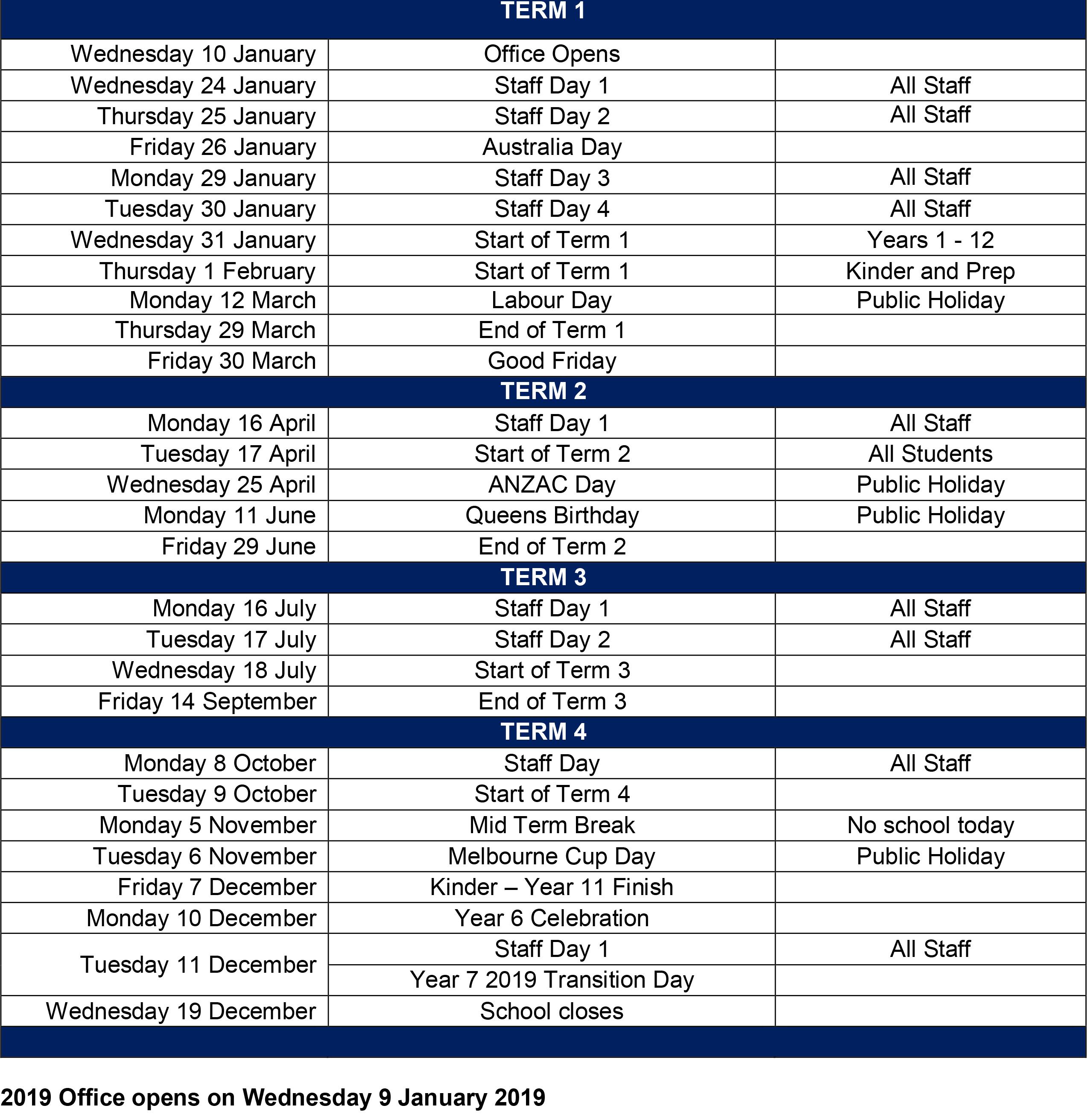 term dates 2018